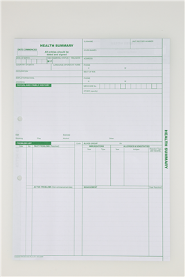 Medical Record Sheets - Health Summary